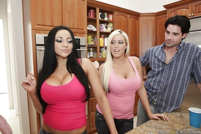 Memphis Monroe and Audrey Bitoni with mammoth milk sacks have a baths with a rod