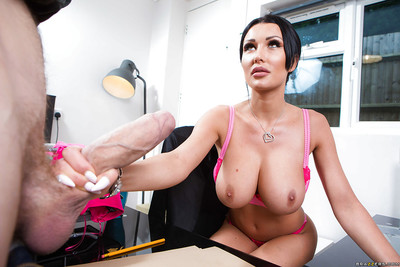 Massive boobed brunette hair office worker Patty Michova jerks off delivery male
