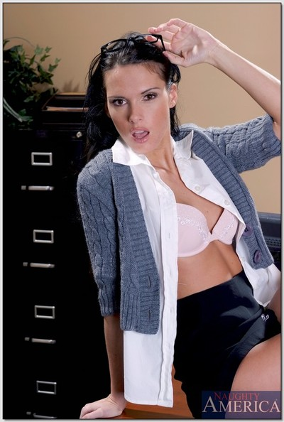 Scrumptious secretary Jennifer Murky removes clothes in the office and masturbates