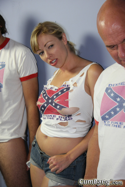 Interracial bukkake ebon darling white redneck gang