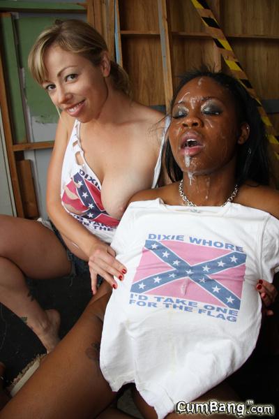 Interracial bukkake ebon darling white redneck gang