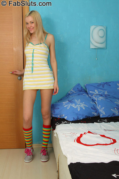 Workable golden-haired in striped knee socks receives her waste rammed by boss shlong