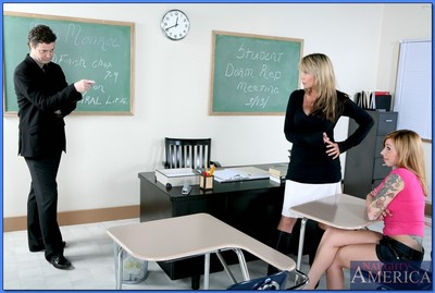 Placid educator and her moist student benefits from off in a wild real time Male+Male+Female