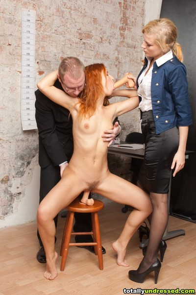 Secretary masturbates with sextoys for staff managers