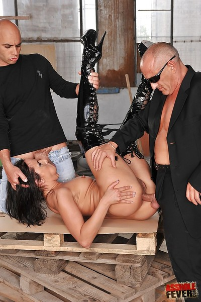 2 boys break through milf pussy of Andy Ebony in a clammy two men plus one female