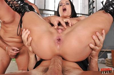 2 boys break through milf pussy of Andy Ebony in a clammy two men plus one female