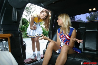 Sassy cheerleaders flashing their slits and giving a kiss on the agone seat