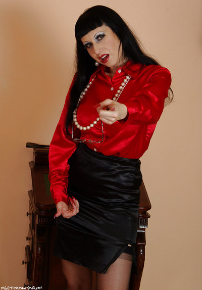 Ready femdom in  enjoys ass-licking and tortures her manslave