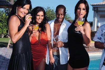 Pornstars put on raw schlongs by the pool