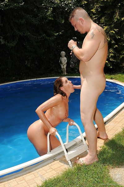 Horny european cutie gives a dick sucking and benefits from released pee on by the pool
