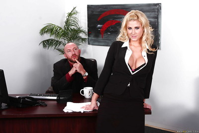 Spectacular secretary with round jugs benefits from fucked hard by her hung boss