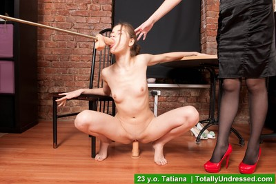 Stripped secretary demonstrates her two men plus one female skills