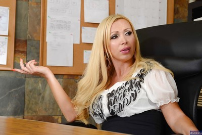 Blond Nikki Benz was fucked raw in the office by the boss