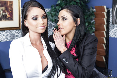 Alluring office doxies Audrey Bitoni & Raven Bay sharing a huge raw schlong