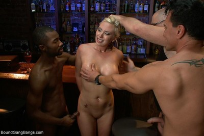Curvy blond lawyer gang group-fucked by her client and his assistants