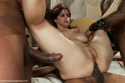 Breasty redhead in heavy interracial groupie with creampie