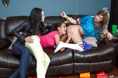 Girl-on-girl milfs Amia Miley, Isis Love and  Chloe Chaos love strapons