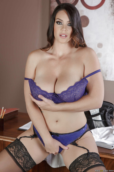 Bosomy dark brown Alison Tyler thrashing appealing solo standing in underware and pantyhose