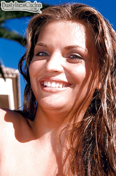 Solo dear Ines Cudna flaunts mammoth MILF pornstar mounds outdoors by pool