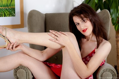 Tiffannys unshaved wet crack in a red costume