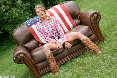 Appealing meet madden in barely strings and an american flag
