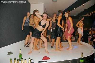 Lewd juvenile gals love publicly showering at avid get-together