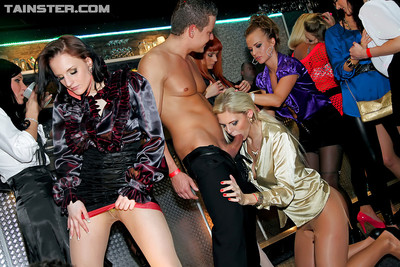 Randy MILFs participate a adorable act of love gangbang at the drunk club munch