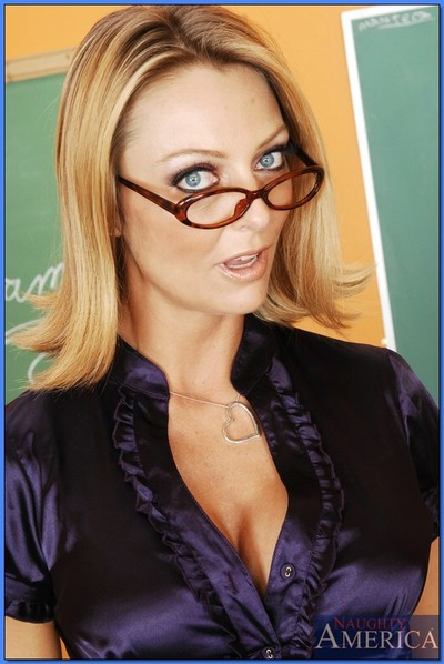Ripe tutor in glasses Brenda James playing with dick whilst reading