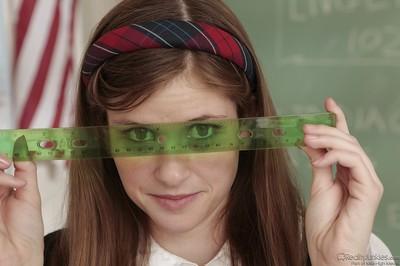 Pretty schoolgirl with wild legs Lara Brookes erotic dance in the classroom