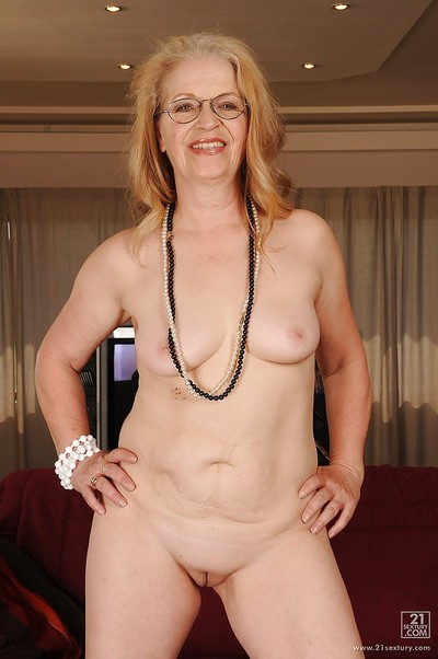 Dirty elderly in glasses revealing her colossal bendy jugs and smooth on top love-cage