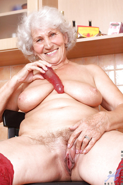 Corpulent grandpa uncovering giant marangos from marvelous panties and playing with a huge toy dick
