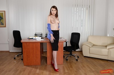 Office secretary Macy is showing her panties, although undressing