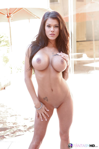 in an outdoor setting Peta Jensen makes known her mammoth juggs and her love-cage