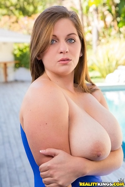 Boobsy chico in blue swimsuit uncovering her ravising heavy jugs - PornPics.com