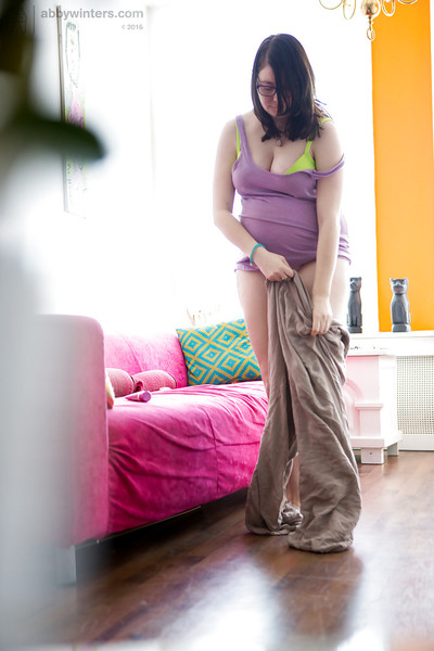 Preggy adolescent solo queen with wavy bush secretly filmed by internal watch furtively