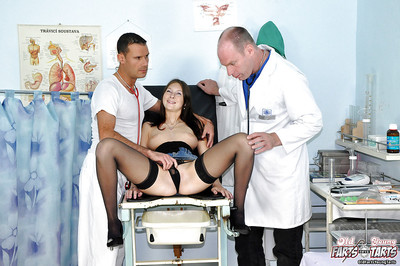 Stunning adolescent pretty in nylons Lucie attains group-fucked in gyno exam room