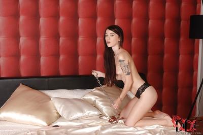 Fabulous European girl Misha Cross is showing her tattoos
