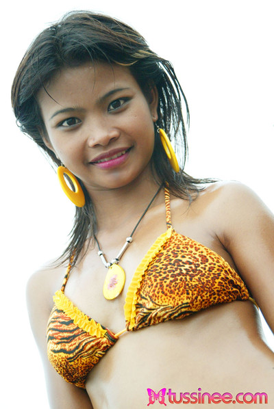Young year old thai youthful in tiger bikini at the beach flashes all her bawdy parts