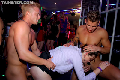 Those sticky cuties take wang at their eager drunken parties