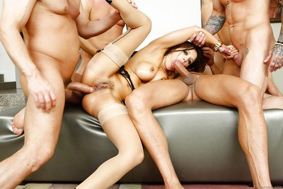 Latin chick Milf Francesca Le group-fucked by plethora of immense schlongs