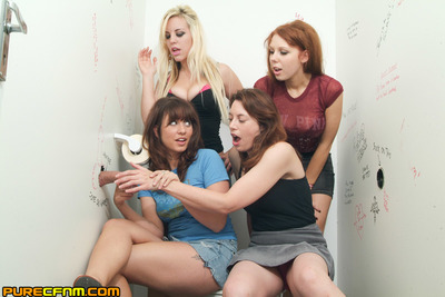 Four models compete with per other to make double Gloryhole knobs release their goo