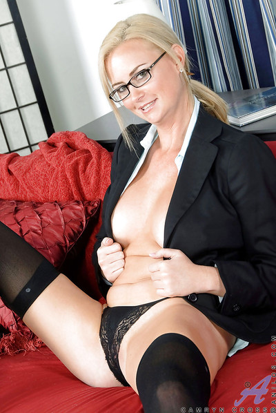 Indefatigable secretary MILF Camryn Cross showing off mammoth bazookas and apple bottoms