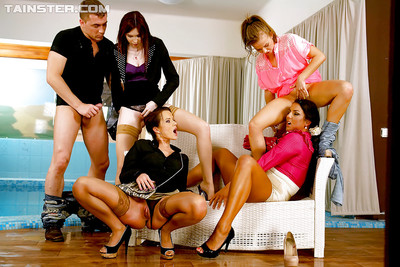European fixation ladies take part in completely covered soggy groupsex with a nasty fellow