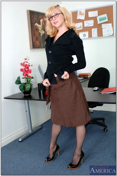 Golden-haired office lass in lace nylons showing off her unyielding very holes
