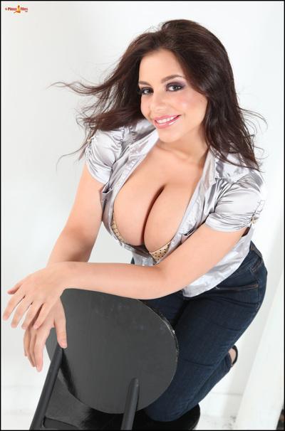 Titsy Desiree-Elyda Villalobos posing in unyielding jeans and silver Master
