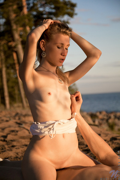 Elegant mini blond enjoys some appealing beach screwing