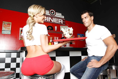 Extreme waitress in rigid underclothing and nylons Bree Olson penetrated at put into