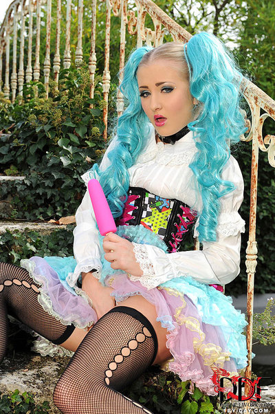 Solo lass Cayla Lyons toying and stroking outdoors in cosplay outfit