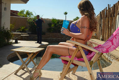Eva Notty is tanning by the pool when her sons friend. Xander, shows up. Xander spill a gulp on his panties and Eva advises to assist guiltless it up. Whereas wiping his panties down this babe feels his bulge and this babe knows then that this babe simply