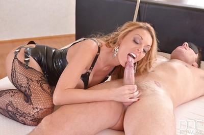 Blond dominatrix-bitch Stacey Saran tossing her fellow slave
